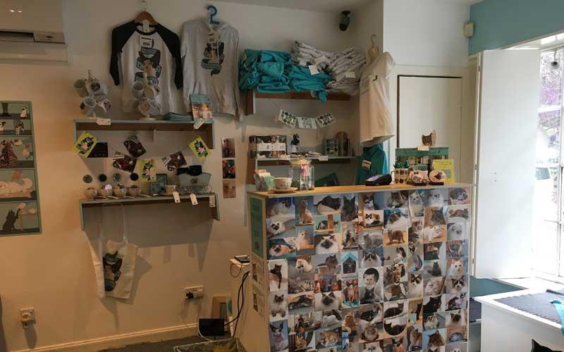 Souvenirs an der Kasse im Katzencafé Maison de Moggy